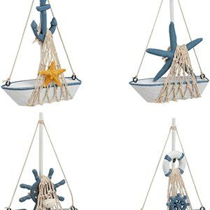Juvale Mini Sailboat Model Decoration - 4-Piece Wo